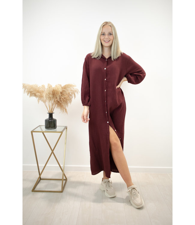 Isa button tetra dress - bordeaux