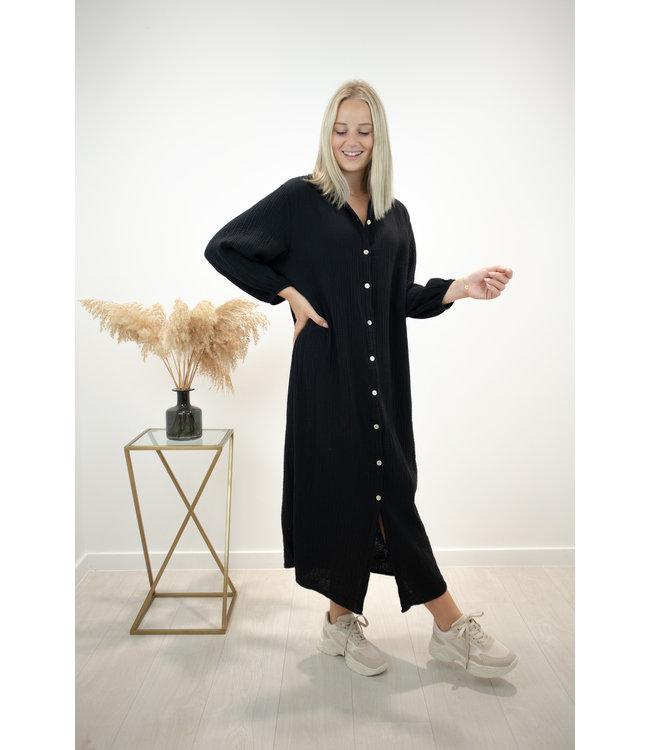 Isa button tetra dress - black