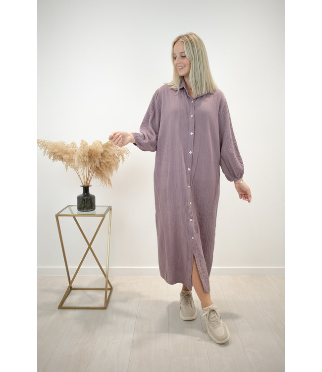 Isa button tetra dress - violet