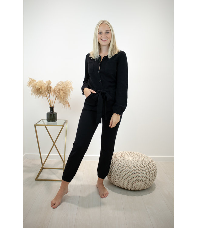 Knitted jumpsuit - black
