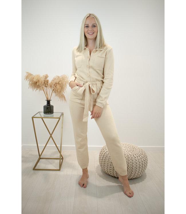 Knitted jumpsuit - ecru