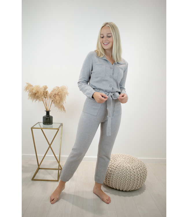 Knitted jumpsuit - grey