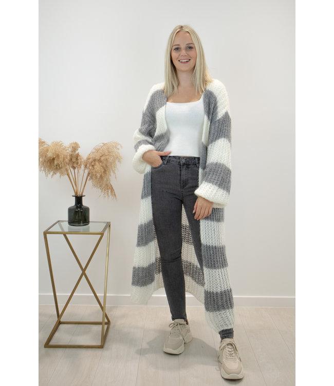 STRIPE Long knitted gilet - white/grey