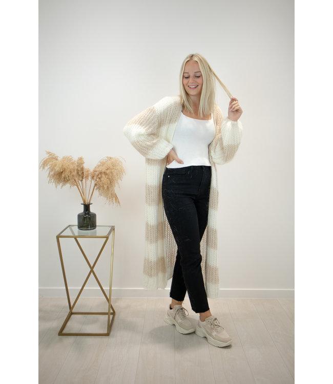 STRIPE Long knitted gilet - white/beige