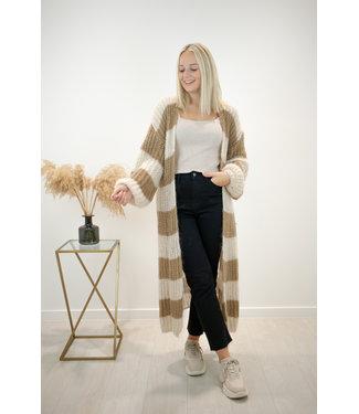 STRIPE Long knitted gilet - camel/beige