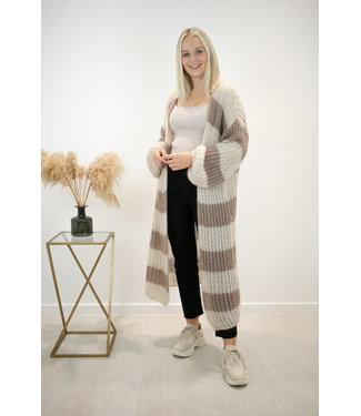 STRIPE Long knitted gilet - beige/brown