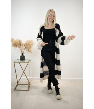 STRIPE Long knitted gilet - black/beige