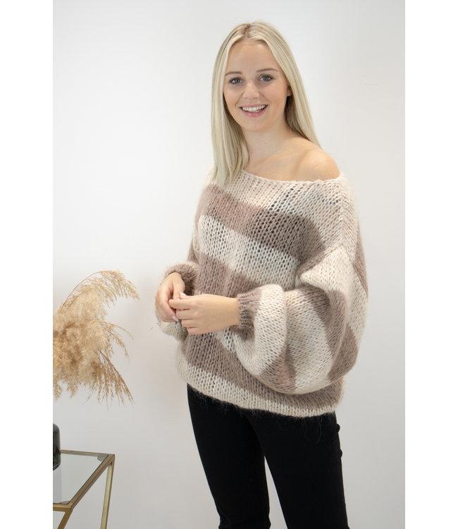 Poofy stripe sweater - brown