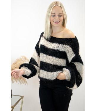 Poofy stripe sweater - black