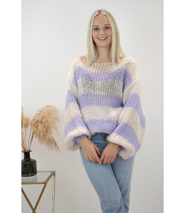 Poofy stripe sweater - lila