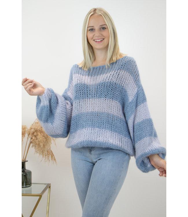 Poofy stripe sweater - blue