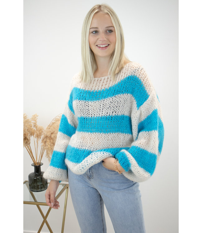 Poofy stripe sweater - turquoise