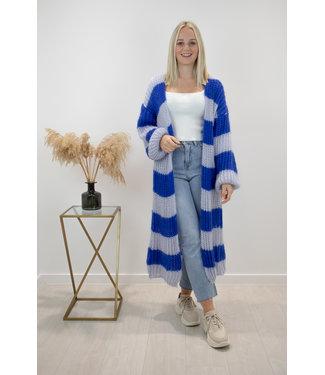 STRIPE Long knitted gilet - kobalt/blue