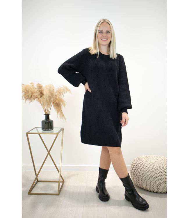Liv ribble dress - black