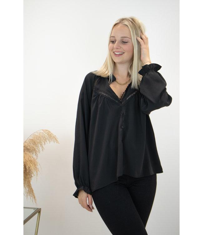 Elle lace blouse - black