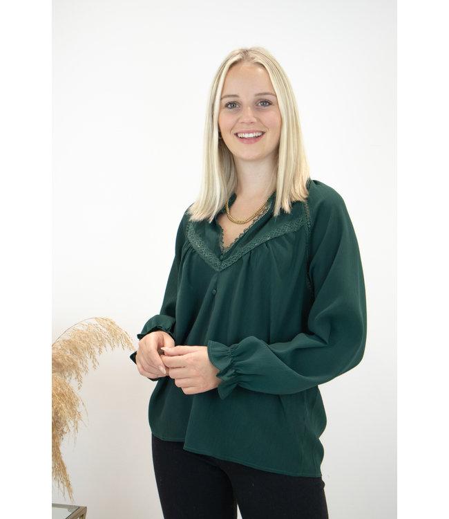 Elle lace blouse - classy green