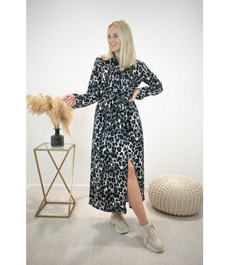 Leopard maxi dress - grey