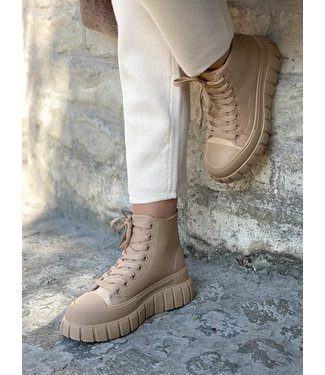High leather sneakers - camel