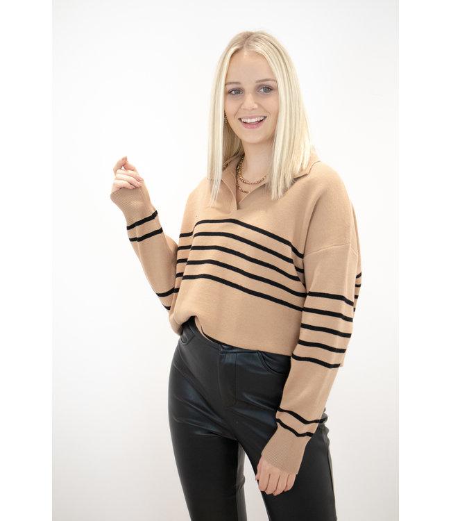 Hope stripe sweater - camel/black