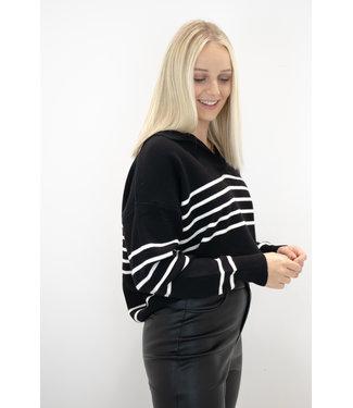 Hope stripe sweater - white/black