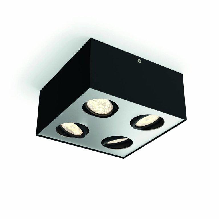 Philips Philips Box zwart LED (4x4,5W) WarmGlow