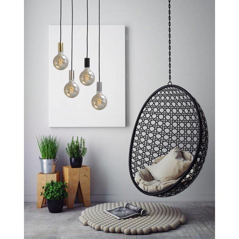 Masterlight Hanglamp Tessi 5lichts mat zwart op ronde plaat