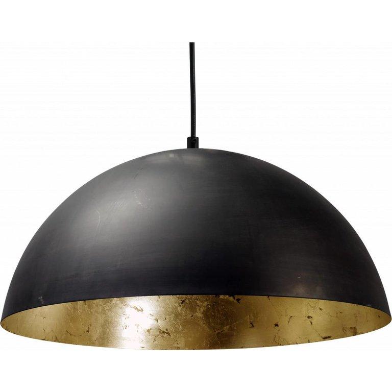Masterlight Hanglamp Larino gunmetal met bladgoud, 40 cm, zwart snoer