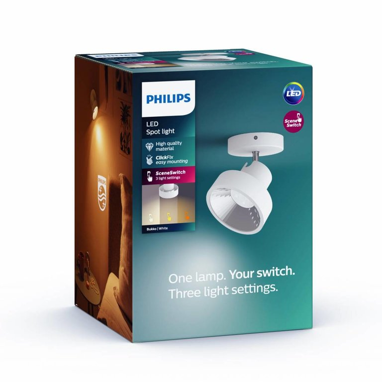 Philips Philips opbouwspot Bukko Wit 1lichts LED (4,5W) met Sceneswitch