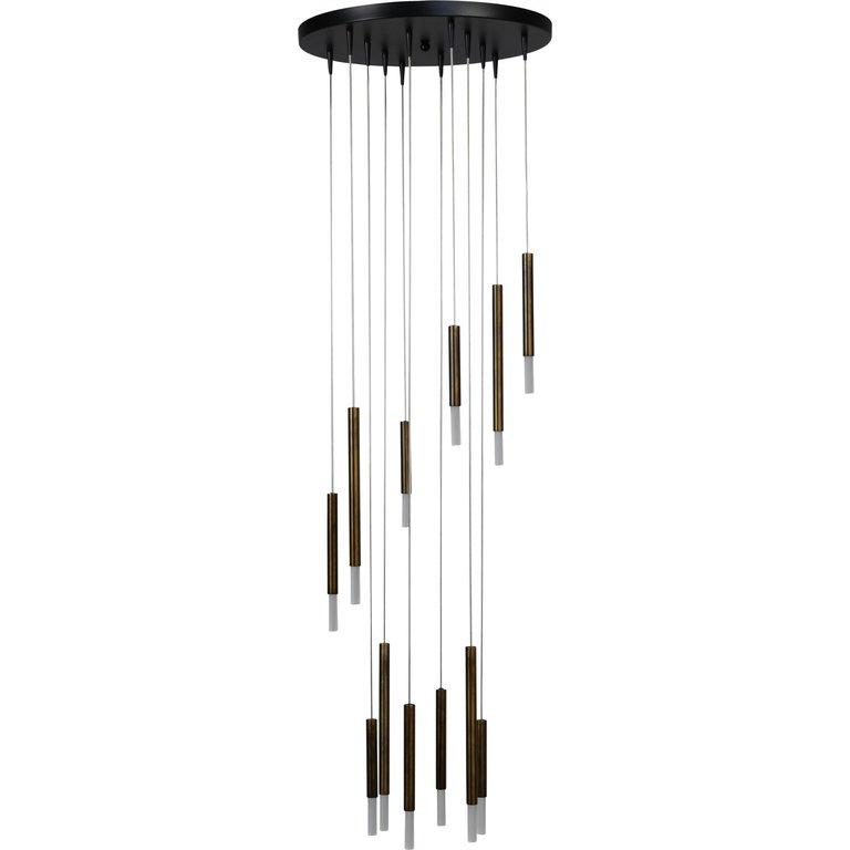 Masterlight Hanglamp Flute 12lichts antiek messing