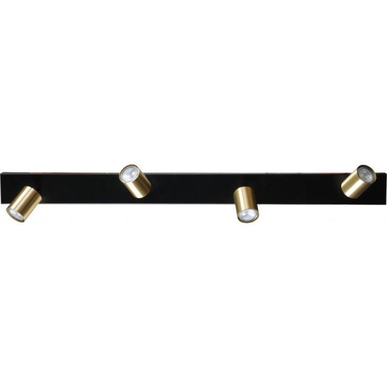 Masterlight Plafondlamp Bounce 4lichts zwart met mat goud
