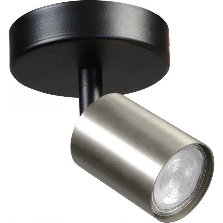 Masterlight Plafondlamp Bounce 1lichts zwart met mat nikkel