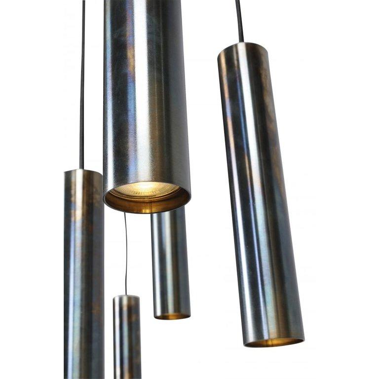 Masterlight Hanglamp Run dappled oil  8lichts