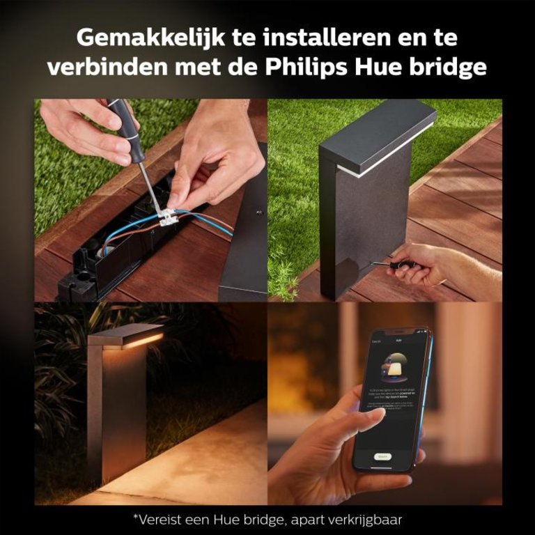 Philips Buitenlamp Nyro Sokkellamp Hue Zwart