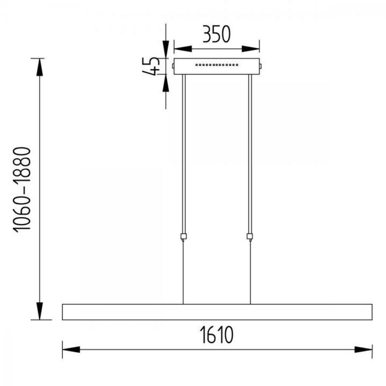 Knapstein Hanglamp Linn Zwart 160cm LED (52W ) met dubbele sensordimmer