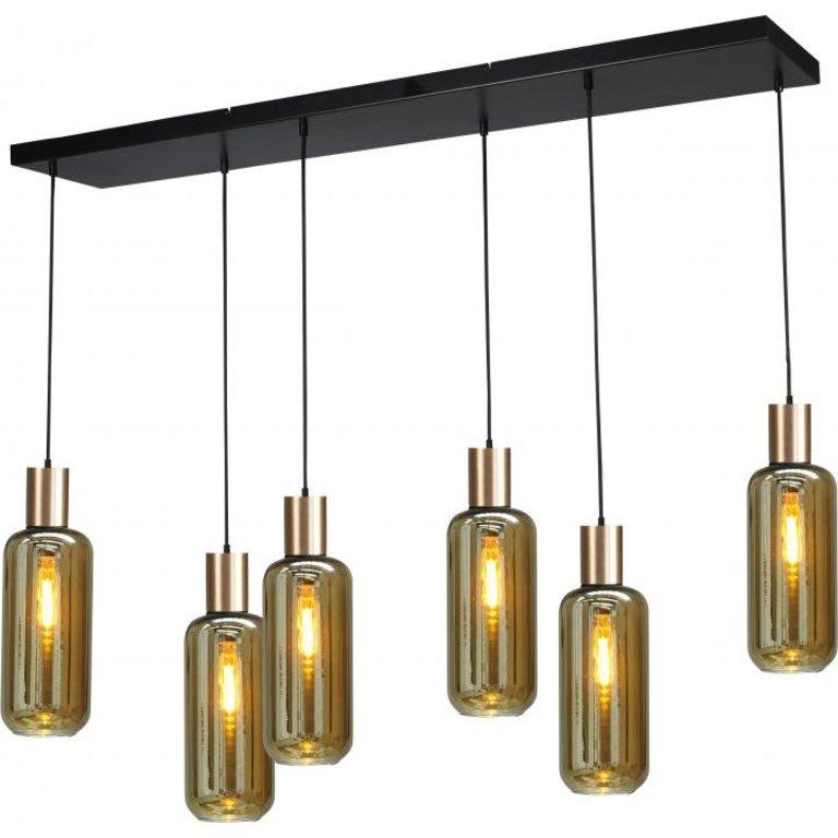 Masterlight Hanglamp Bounty 6lichts mat goud met cilindervormig glas