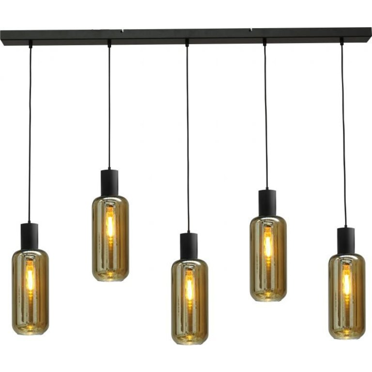 Masterlight Hanglamp Bounty 5lichts mat zwart met cilindervormig glas