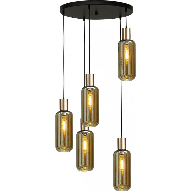 Masterlight Hanglamp Bounty 5lichts mat goud met cilindervormig glas