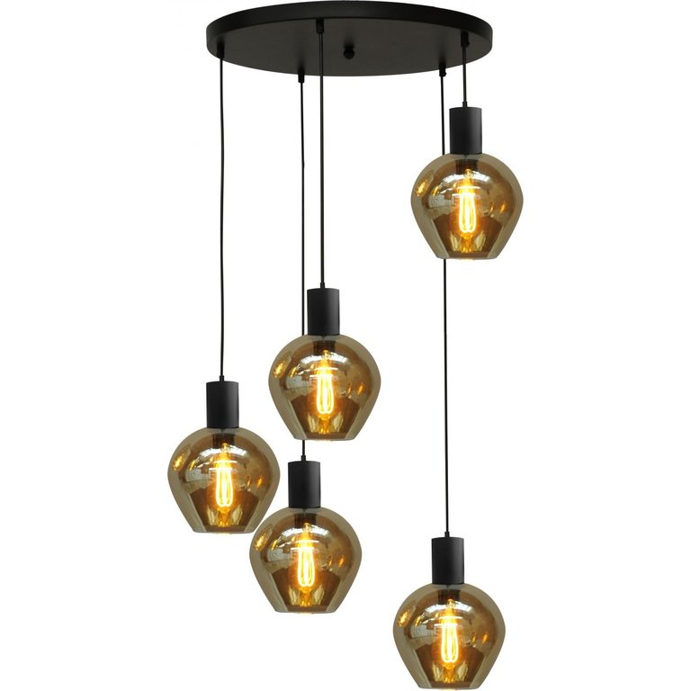 Masterlight Hanglamp Bounty 5lichts mat zwart met bolvormig glas