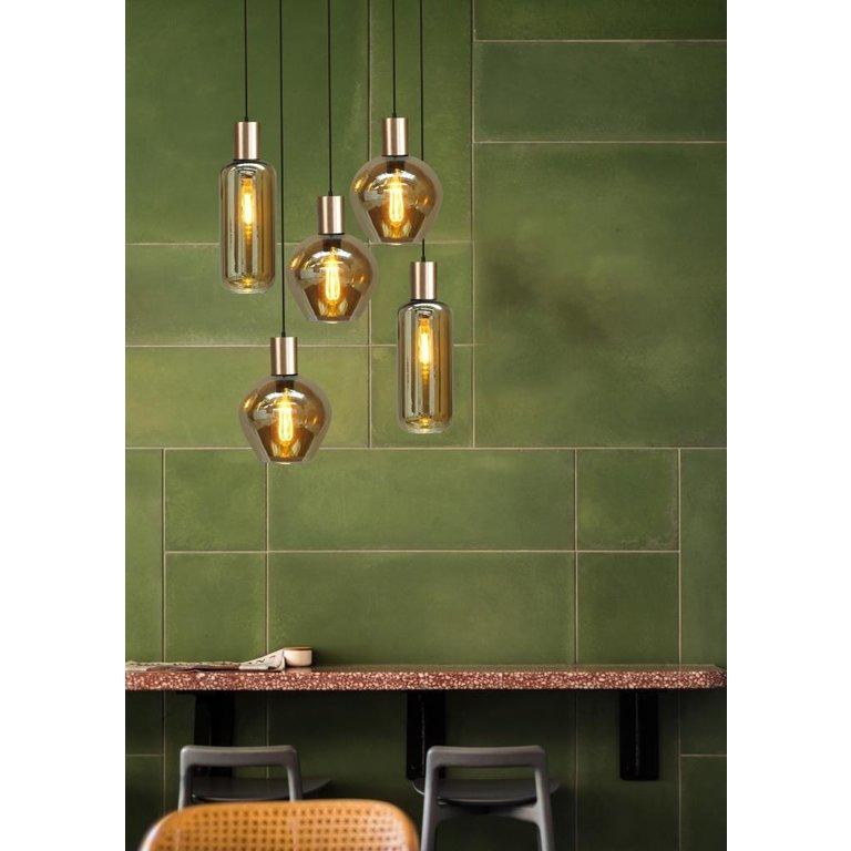 Masterlight Hanglamp Bounty 5lichts mat goud met bolvormig glas