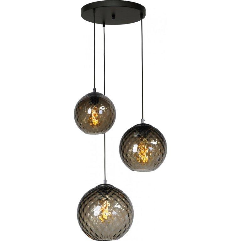 Masterlight Hanglamp Baloton 3lichts mat zwart op ronde plaat