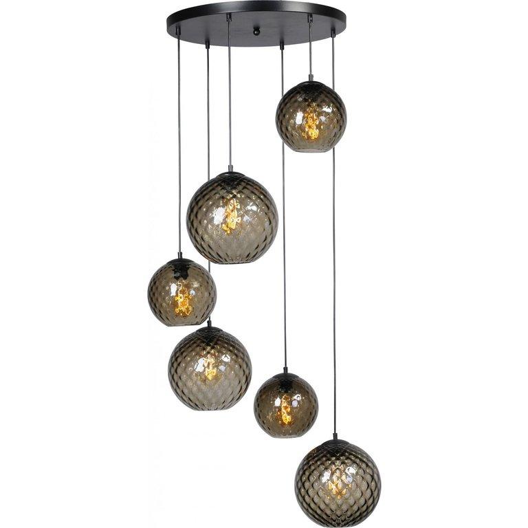 Masterlight Hanglamp Baloton 6lichts mat zwart op ronde plaat