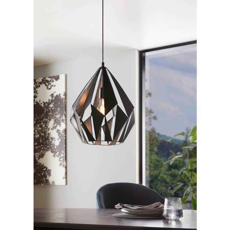 Eglo Hanglamp Carlton 1Lichts Zwart/Zilver