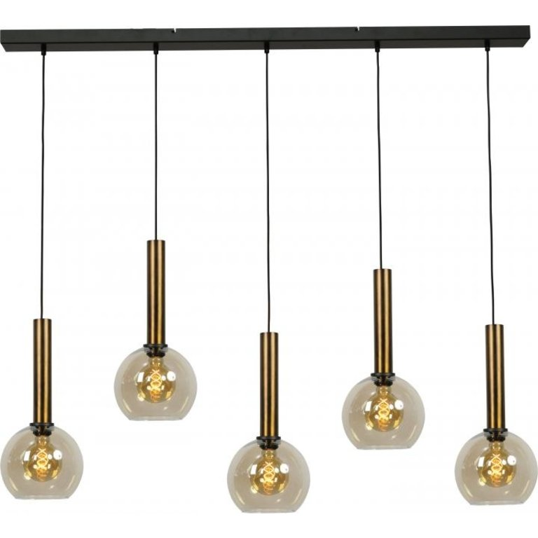 Masterlight Hanglamp Bella 5lichts antiek messing