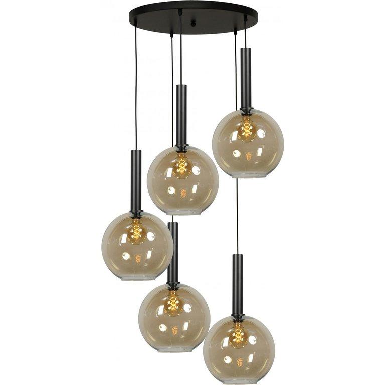 Masterlight Hanglamp Bella 5lichts mat zwart Ø 50 cm
