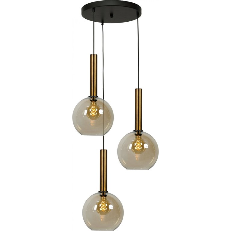 Masterlight Hanglamp Bella 3lichts antiek messing Ø 35 cm