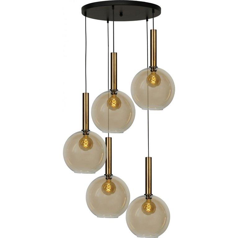 Masterlight Hanglamp Bella 5lichts antiek messing Ø 50 cm