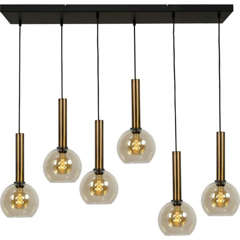 Masterlight Hanglamp Bella 6lichts antiek messing