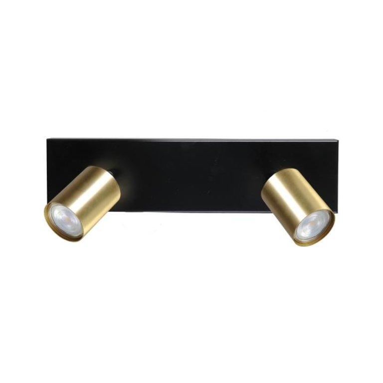 Masterlight Plafondlamp Bounce 2lichts zwart met mat goud