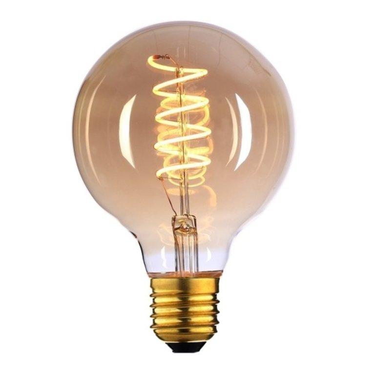 Highlight E27 LED filamentlamp - globe 125 - 6W - 3-staps dimbaar zonder dimmer - amber