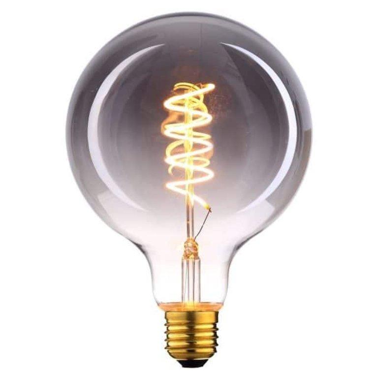 Highlight E27 LED filamentlamp - globe 95 - 6W - 3-staps dimbaar zonder dimmer - smoke